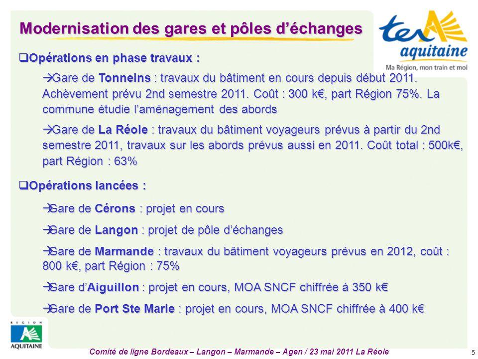 Comité de ligne Bordeaux – Langon – Marmande – Agen / 23 mai 2011 La Réole 6 Matériel roulant : affectation 2011 - perspectives Rames Corail sur les Ter les plus chargés Près de 60% des Ter assurés en AGC 10% des Ter assurés en Z-Ter Automotrices Z2 en complément 400 M€ engagés pour l'acquisition de 46 nouveaux matériels livrables :  à partir de fin 2013 : 24 rames Régio2N (2 en 2013, 8 en 2014 et 2015, 6 en 2016) matériel Bombardier, électrique,matériel Bombardier, électrique, 2 niveaux, 360 places assises (720 si 2 rames) + possibilité 300 places debout,2 niveaux, 360 places assises (720 si 2 rames) + possibilité 300 places debout,  à partir de mi-2013 : 22 rames Régiolis matériel Alstom, électriquematériel Alstom, électrique un niveau, 220 placesun niveau, 220 places