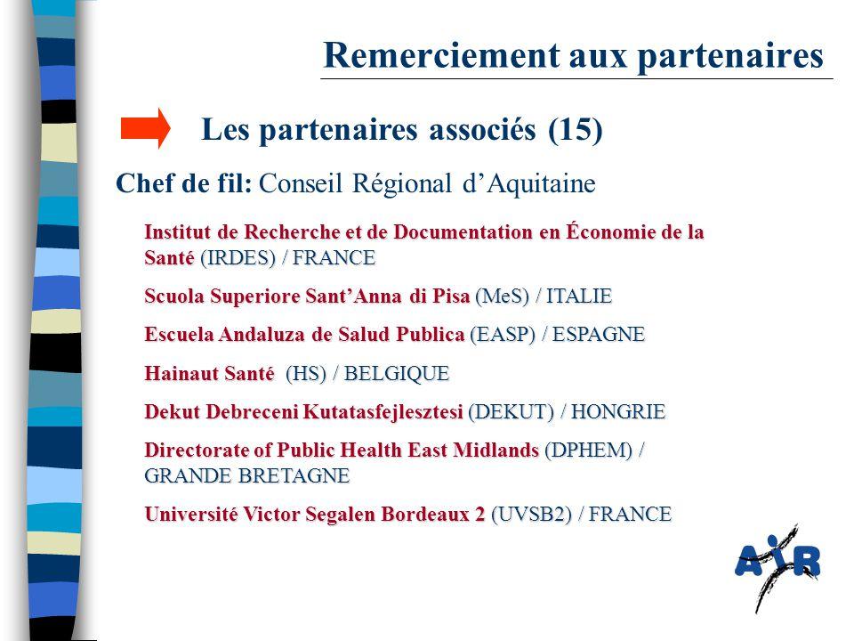 Remerciement aux partenaires Les partenaires associés (15) Chef de fil: Conseil Régional d'Aquitaine Institut de Recherche et de Documentation en Écon