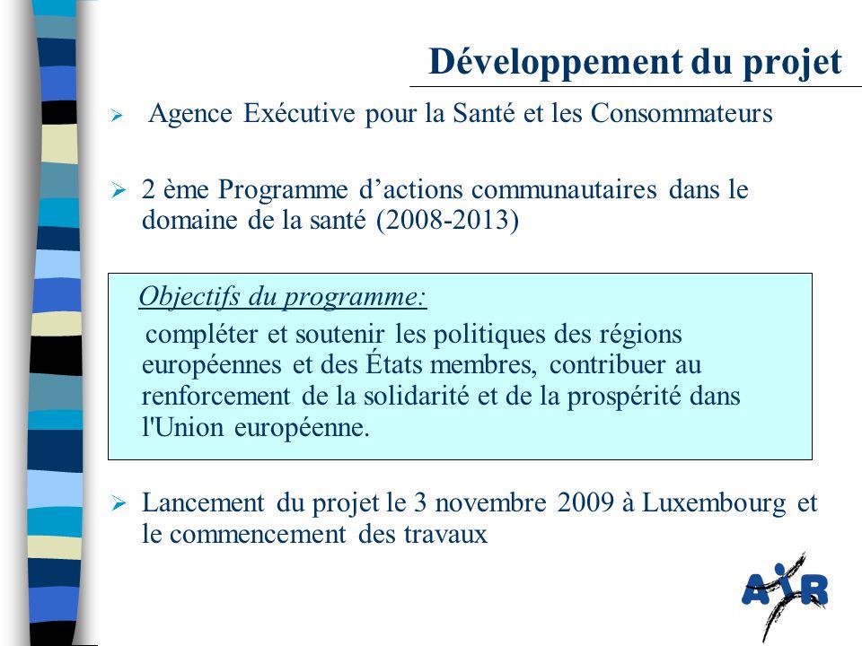 Développement du projet  Agence Exécutive pour la Santé et les Consommateurs  2 ème Programme d'actions communautaires dans le domaine de la santé (2008-2013) Objectifs du programme: compléter et soutenir les politiques des régions européennes et des États membres, contribuer au renforcement de la solidarité et de la prospérité dans l Union européenne.