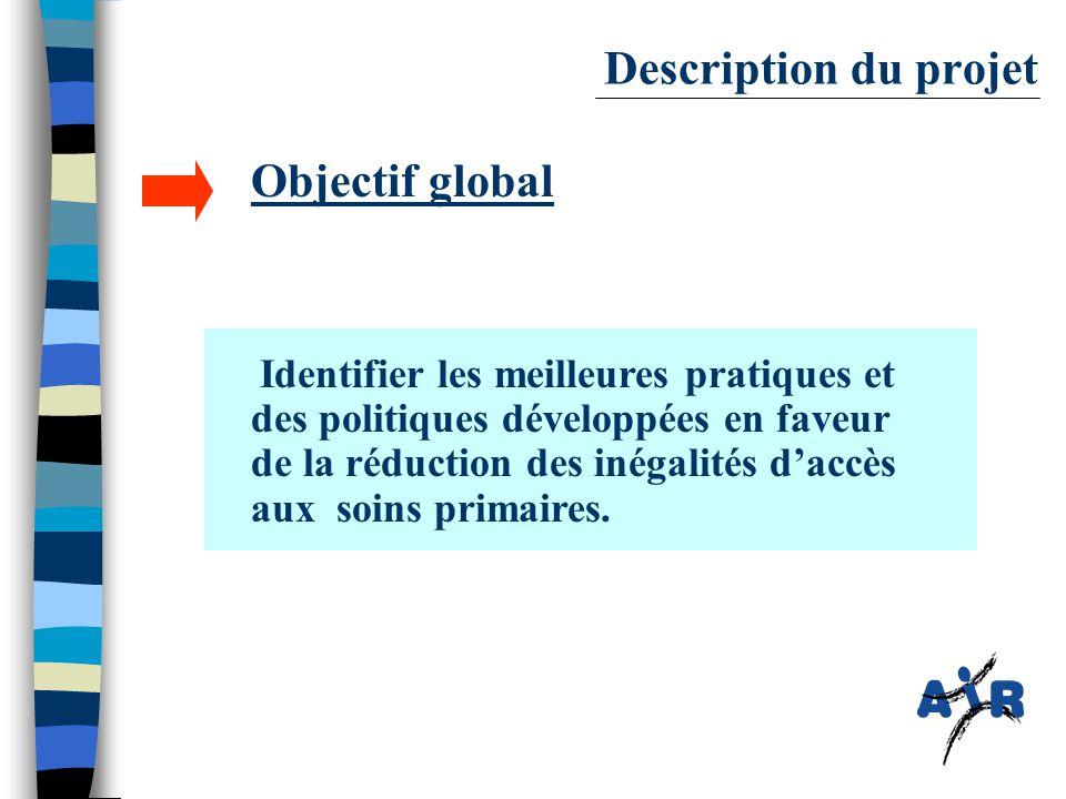 Description du projet Objectif global Identifier les meilleures pratiques et des politiques développées en faveur de la réduction des inégalités d'accès aux soins primaires.