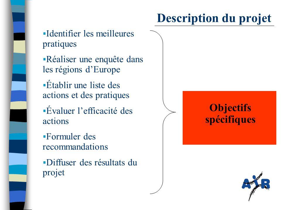  Identifier les meilleures pratiques  Réaliser une enquête dans les régions d'Europe  Établir une liste des actions et des pratiques  Évaluer l'efficacité des actions  Formuler des recommandations  Diffuser des résultats du projet Objectifs spécifiques Description du projet