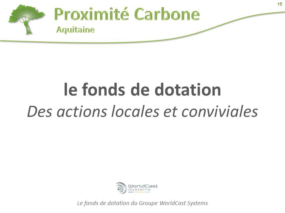 15 Le fonds de dotation du Groupe WorldCast Systems le fonds de dotation Des actions locales et conviviales