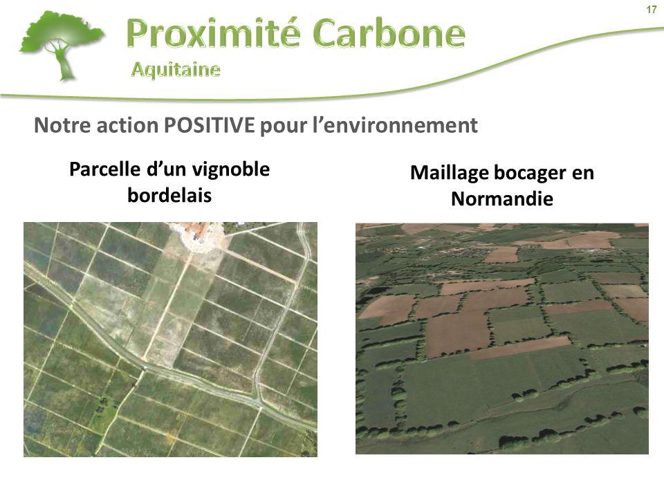 17 Notre action POSITIVE pour l'environnement Parcelle d'un vignoble bordelais Maillage bocager en Normandie