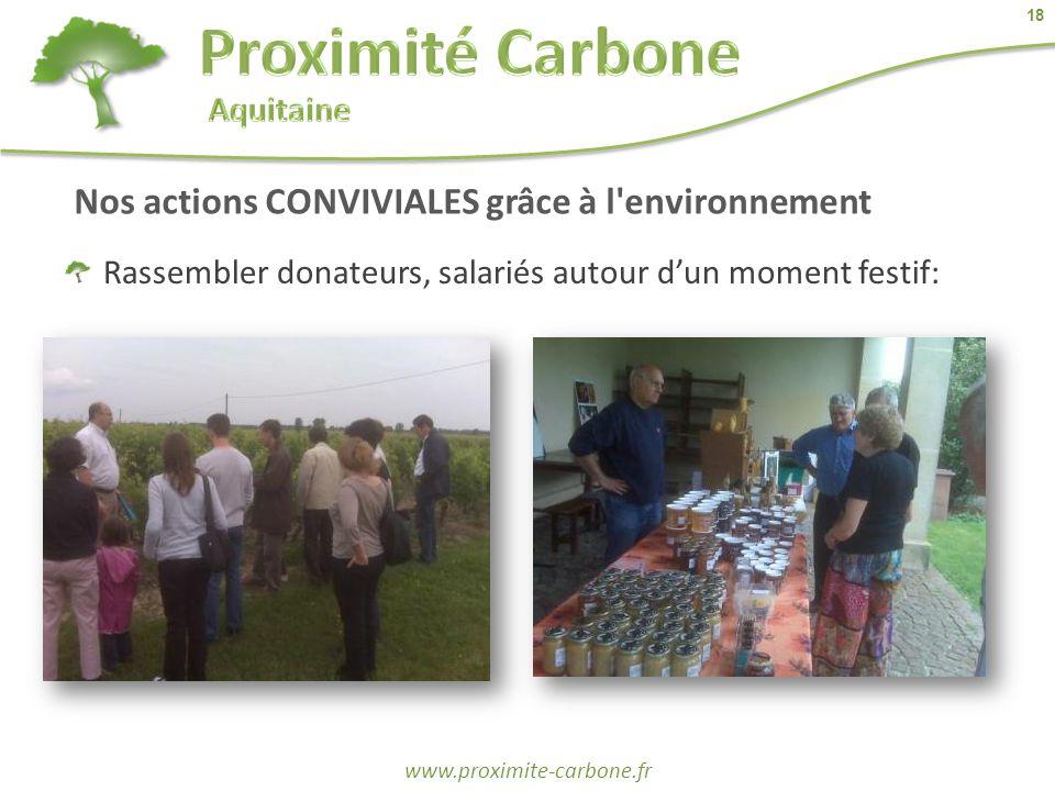 18 www.proximite-carbone.fr Nos actions CONVIVIALES grâce à l'environnement Rassembler donateurs, salariés autour d'un moment festif: