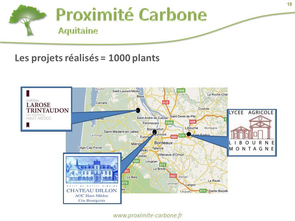 19 www.proximite-carbone.fr Les projets réalisés = 1000 plants
