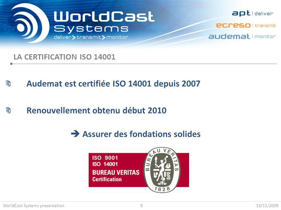 Audemat est certifiée ISO 14001 depuis 2007 Renouvellement obtenu début 2010  Assurer des fondations solides LA CERTIFICATION ISO 14001 13/11/2009Wor