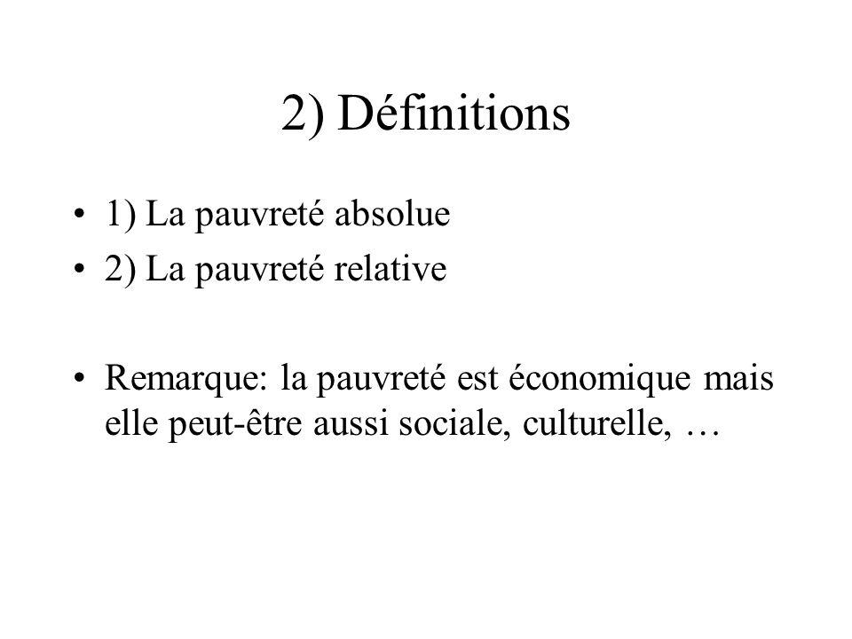 2) Définitions 1) La pauvreté absolue 2) La pauvreté relative Remarque: la pauvreté est économique mais elle peut-être aussi sociale, culturelle, …