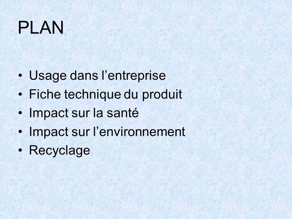 PLAN Usage dans l'entreprise Fiche technique du produit Impact sur la santé Impact sur l'environnement Recyclage