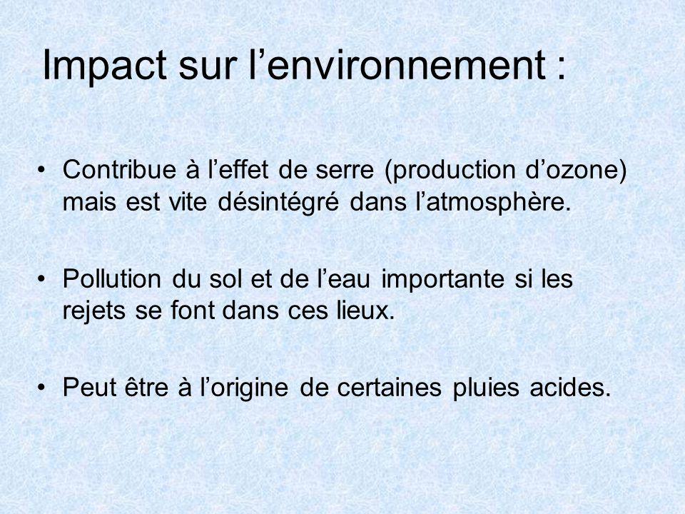 Impact sur l'environnement : Contribue à l'effet de serre (production d'ozone) mais est vite désintégré dans l'atmosphère.