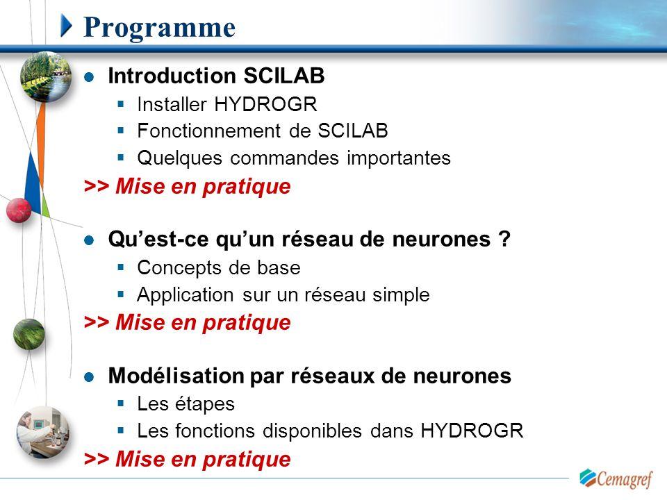 Programme Introduction SCILAB  Installer HYDROGR  Fonctionnement de SCILAB  Quelques commandes importantes >> Mise en pratique Qu'est-ce qu'un rése