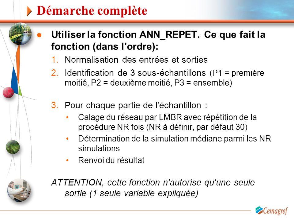 Démarche complète Utiliser la fonction ANN_REPET. Ce que fait la fonction (dans l'ordre): 1.Normalisation des entrées et sorties 2.Identification de 3