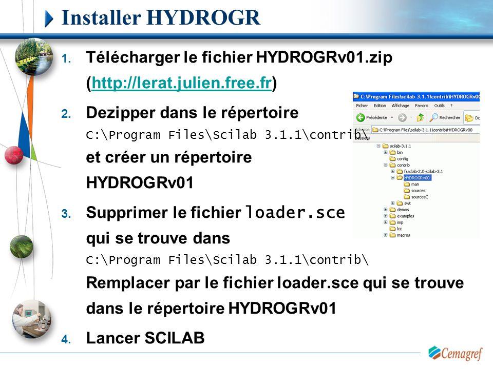 Installer HYDROGR 1. Télécharger le fichier HYDROGRv01.zip (http://lerat.julien.free.fr)http://lerat.julien.free.fr 2. Dezipper dans le répertoire C:\