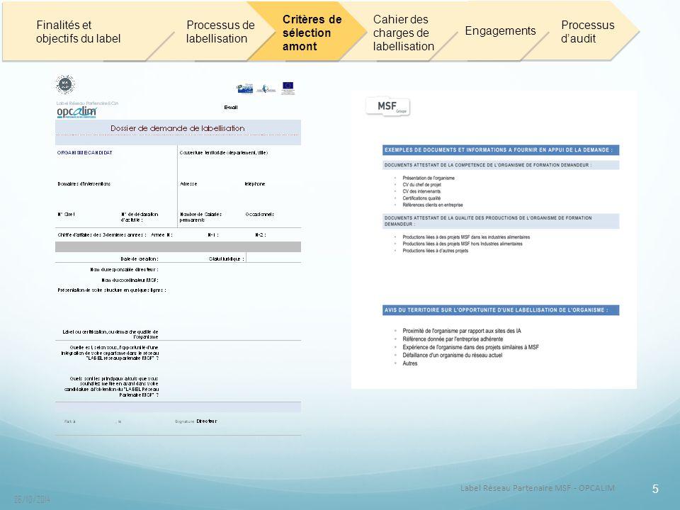 Label Réseau Partenaire MSF - OPCALIM 26/10/2014 5 Finalités et objectifs du label Processus de labellisation Critères de sélection amont Cahier des charges de labellisation Engagements Processus d'audit