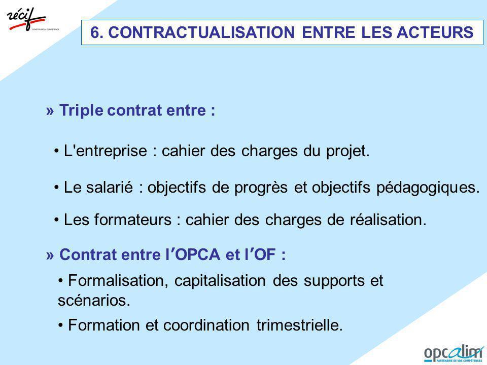 » Triple contrat entre : Le salarié : objectifs de progrès et objectifs pédagogiques. L'entreprise : cahier des charges du projet. Les formateurs : ca
