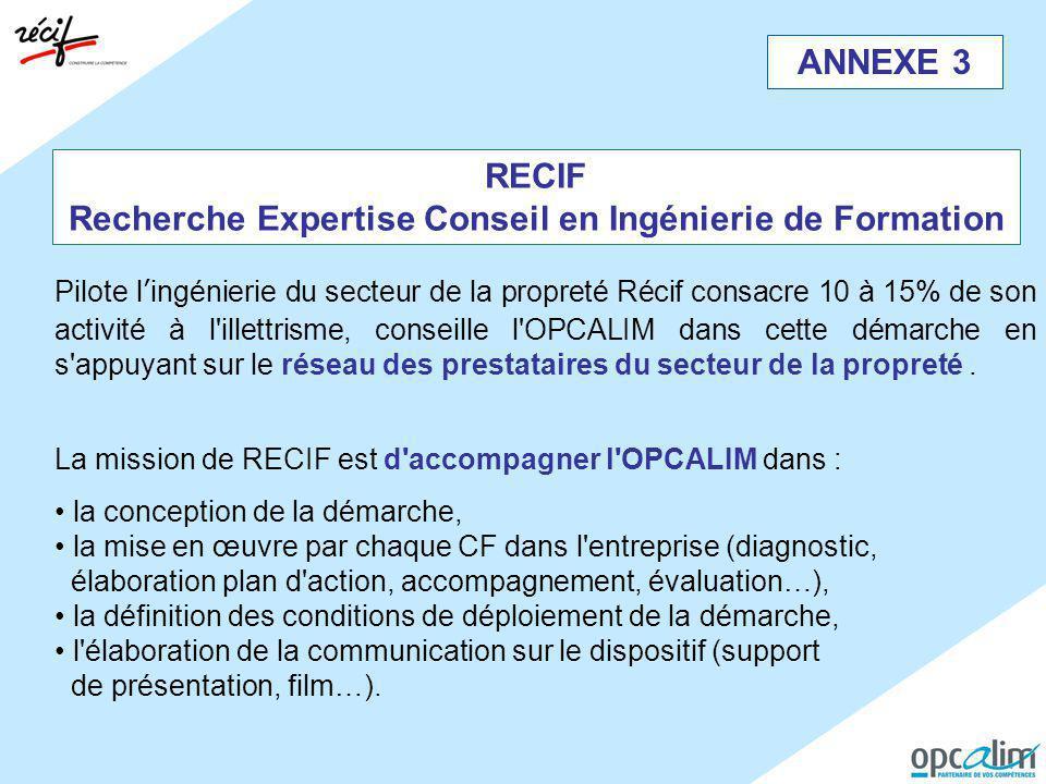 ANNEXE 3 RECIF Recherche Expertise Conseil en Ingénierie de Formation Pilote l'ingénierie du secteur de la propreté Récif consacre 10 à 15% de son act