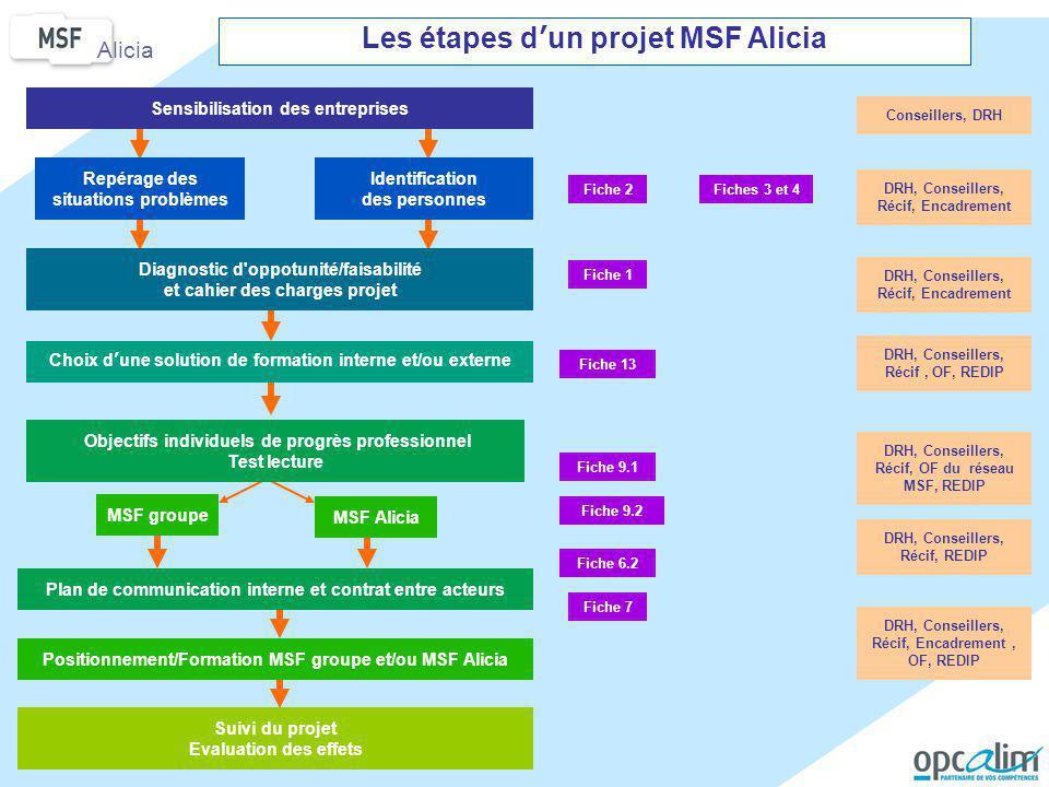 Les étapes d'un projet MSF Alicia Plan de communication interne et contrat entre acteurs Conseillers, DRH DRH, Conseillers, Récif, Encadrement DRH, Co