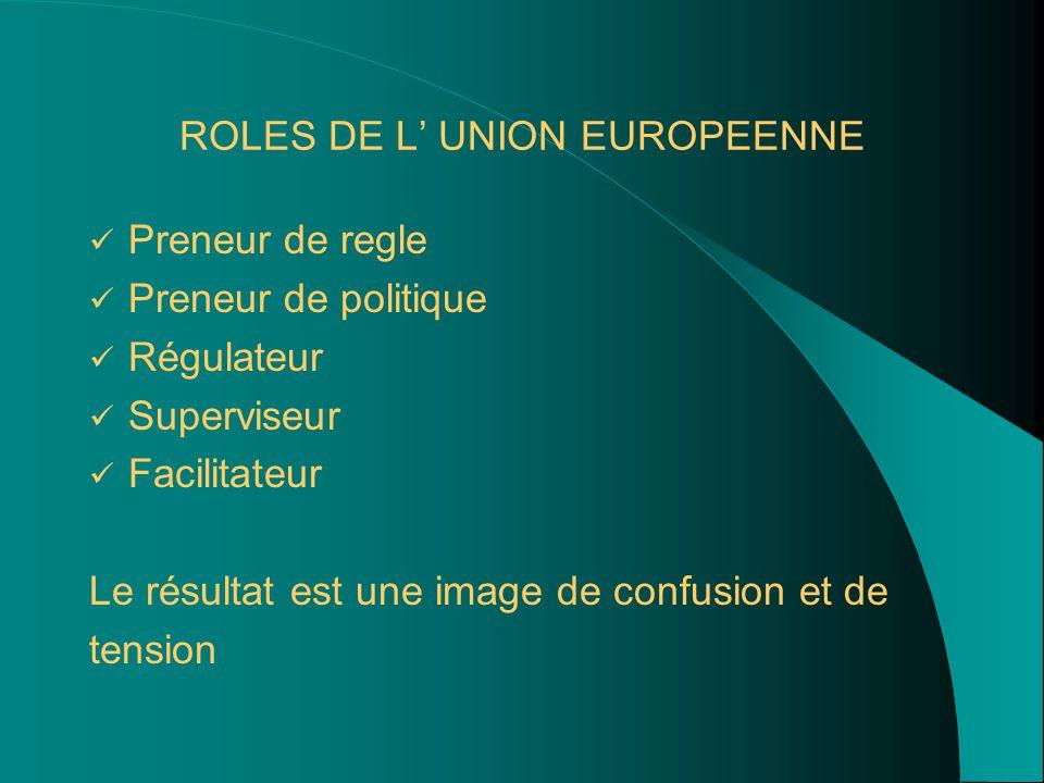 ROLES DE L' UNION EUROPEENNE Preneur de regle Preneur de politique Régulateur Superviseur Facilitateur Le résultat est une image de confusion et de tension