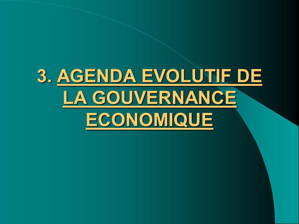 3. AGENDA EVOLUTIF DE LA GOUVERNANCE ECONOMIQUE