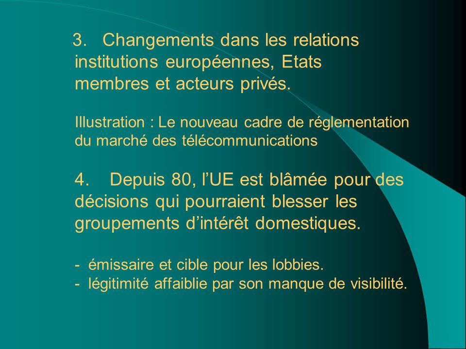 3. Changements dans les relations institutions européennes, Etats membres et acteurs privés.