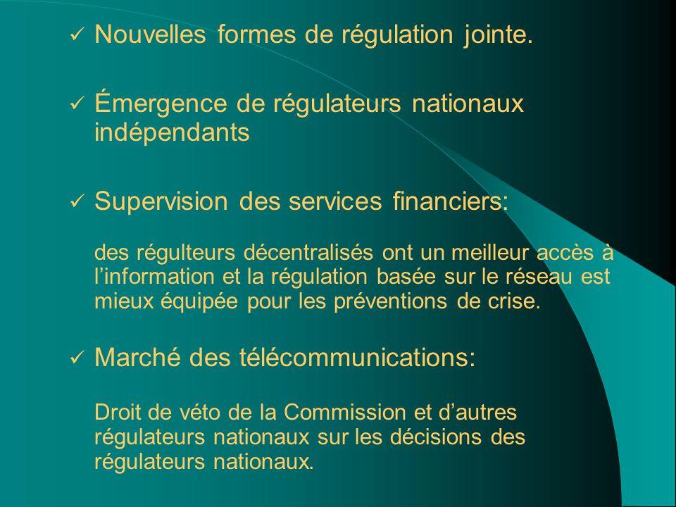 Nouvelles formes de régulation jointe. Émergence de régulateurs nationaux indépendants Supervision des services financiers: des régulteurs décentralis