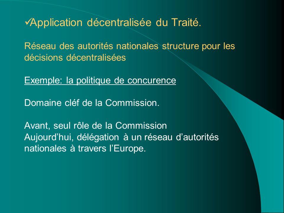 Application décentralisée du Traité. Réseau des autorités nationales structure pour les décisions décentralisées Exemple: la politique de concurence D