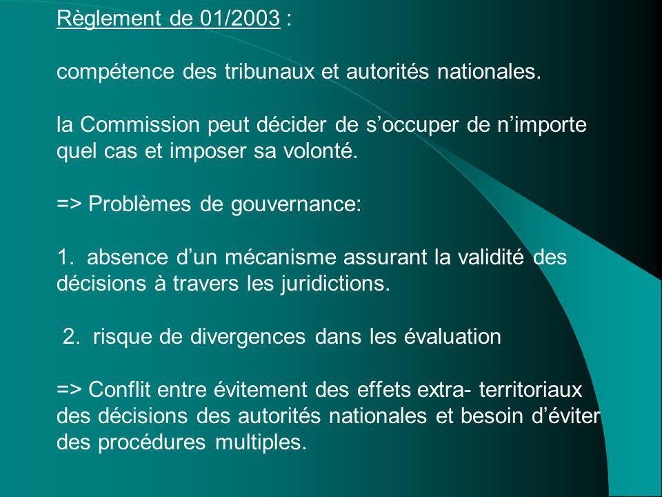Règlement de 01/2003 : compétence des tribunaux et autorités nationales. la Commission peut décider de s'occuper de n'importe quel cas et imposer sa v