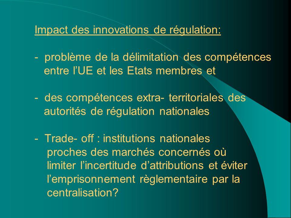 Impact des innovations de régulation: - problème de la délimitation des compétences entre l'UE et les Etats membres et - des compétences extra- territoriales des autorités de régulation nationales - Trade- off : institutions nationales proches des marchés concernés où limiter l'incertitude d'attributions et éviter l'emprisonnement règlementaire par la centralisation