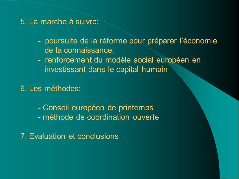 5. La marche à suivre: - poursuite de la réforme pour préparer l'économie de la connaissance, - renforcement du modèle social européen en investissant