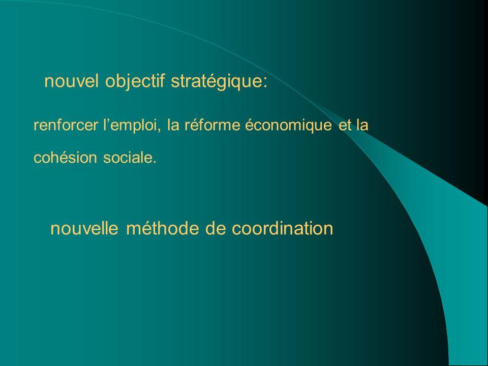 nouvel objectif stratégique: renforcer l'emploi, la réforme économique et la cohésion sociale.