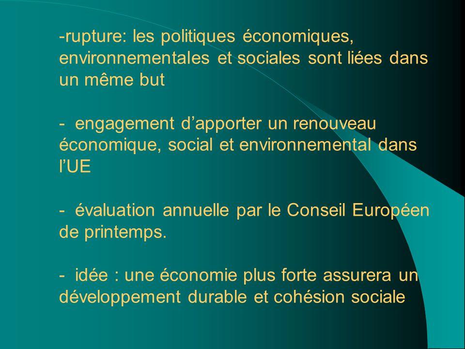 - -rupture: les politiques économiques, environnementales et sociales sont liées dans un même but - engagement d'apporter un renouveau économique, social et environnemental dans l'UE - évaluation annuelle par le Conseil Européen de printemps.