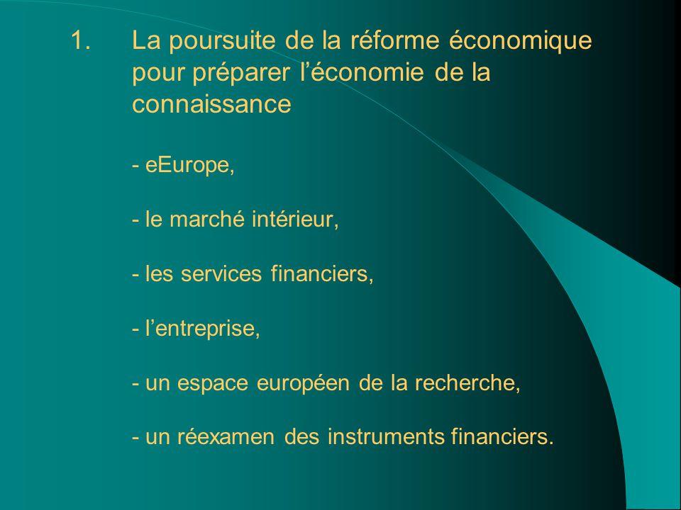 1. 1.La poursuite de la réforme économique pour préparer l'économie de la connaissance - eEurope, - le marché intérieur, - les services financiers, -