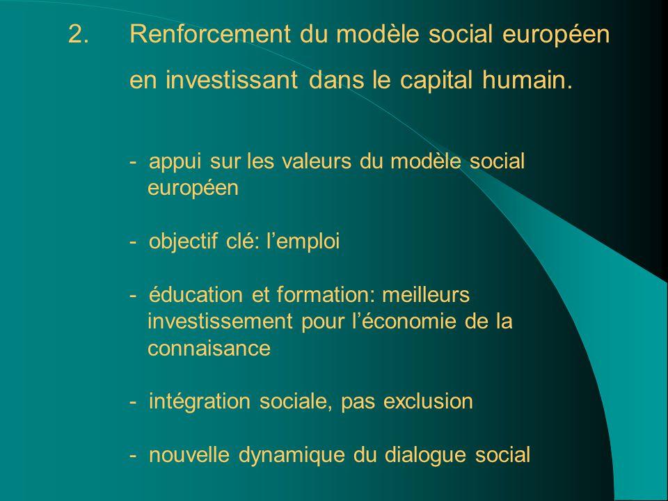 2. 2.Renforcement du modèle social européen en investissant dans le capital humain. - appui sur les valeurs du modèle social européen - objectif clé: