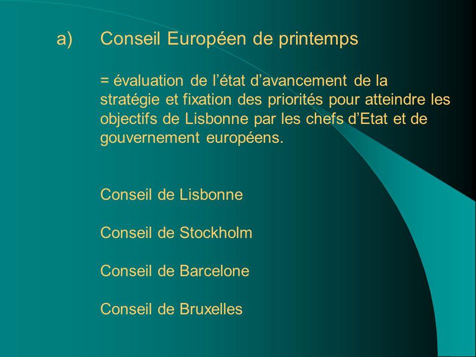 a) a)Conseil Européen de printemps = évaluation de l'état d'avancement de la stratégie et fixation des priorités pour atteindre les objectifs de Lisbonne par les chefs d'Etat et de gouvernement européens.