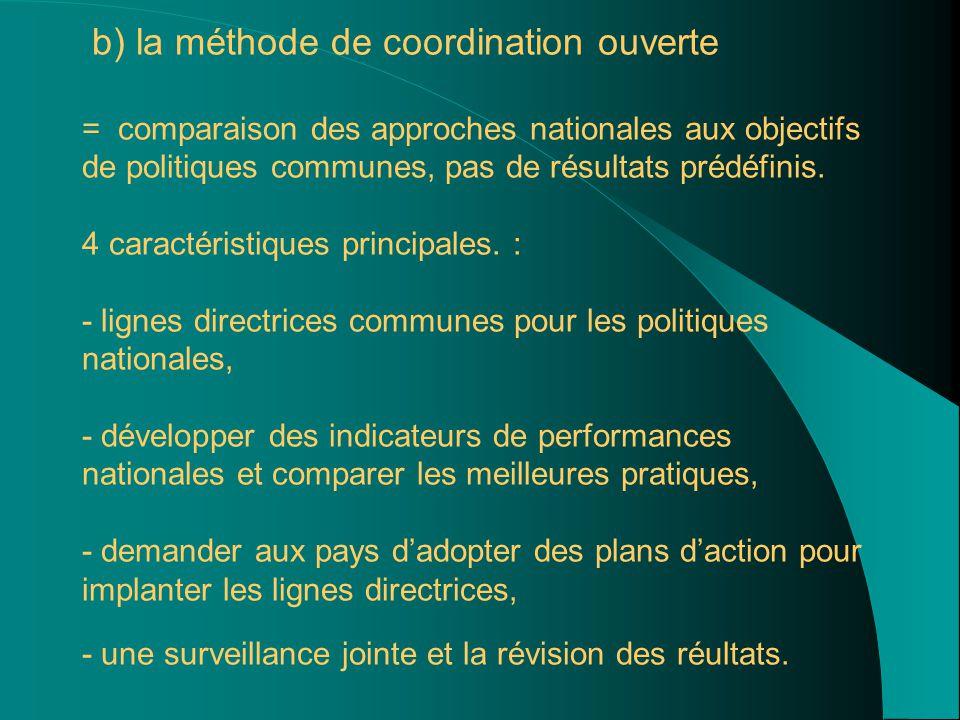 b) la méthode de coordination ouverte = comparaison des approches nationales aux objectifs de politiques communes, pas de résultats prédéfinis.