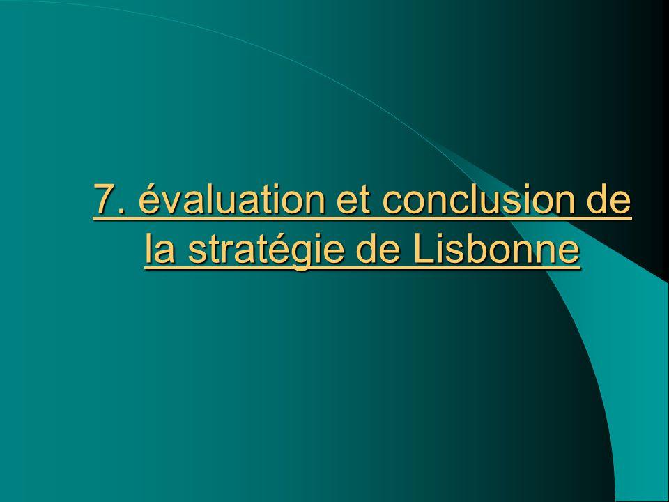 7. évaluation et conclusion de la stratégie de Lisbonne 7. évaluation et conclusion de la stratégie de Lisbonne