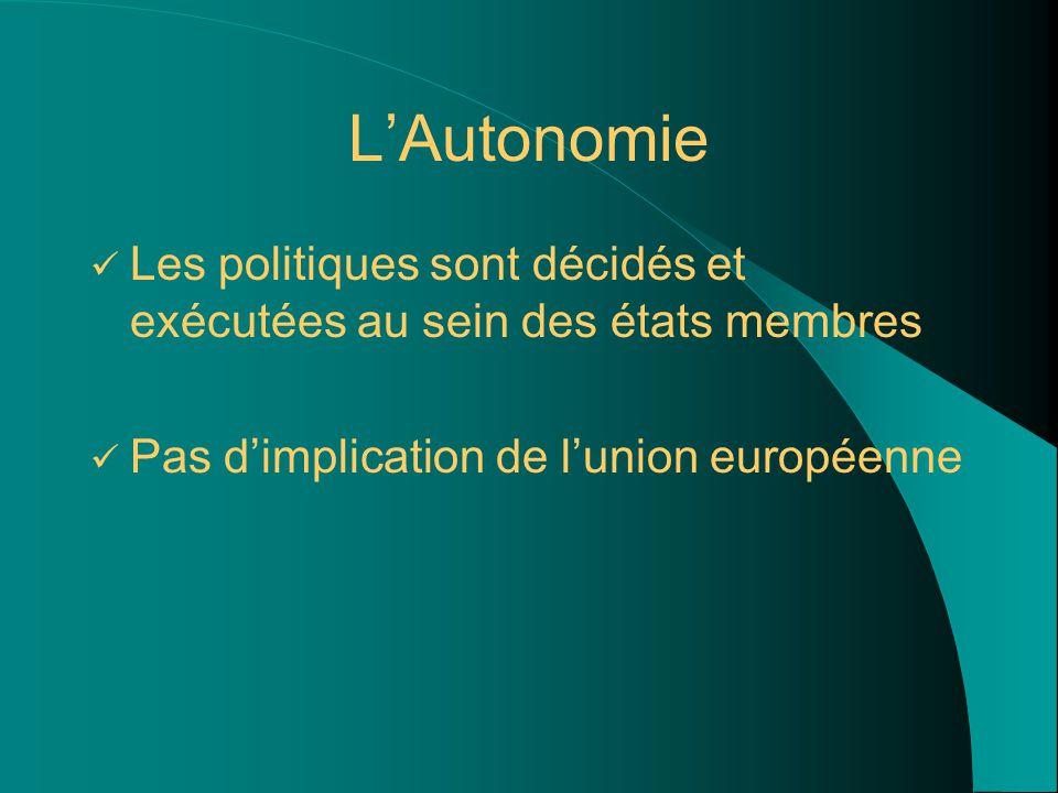 L'Autonomie Les politiques sont décidés et exécutées au sein des états membres Pas d'implication de l'union européenne