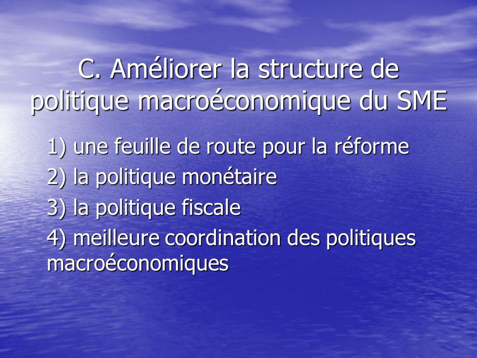 C. Améliorer la structure de politique macroéconomique du SME 1) une feuille de route pour la réforme 2) la politique monétaire 3) la politique fiscal