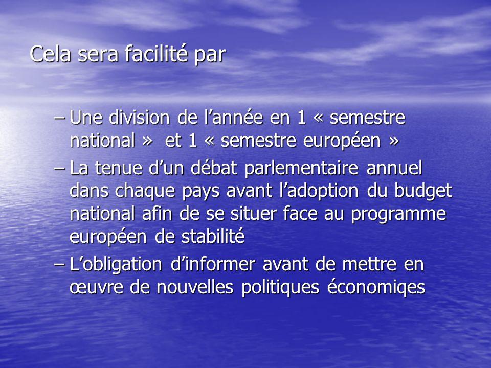 Cela sera facilité par –Une division de l'année en 1 « semestre national » et 1 « semestre européen » –La tenue d'un débat parlementaire annuel dans chaque pays avant l'adoption du budget national afin de se situer face au programme européen de stabilité –L'obligation d'informer avant de mettre en œuvre de nouvelles politiques économiqes