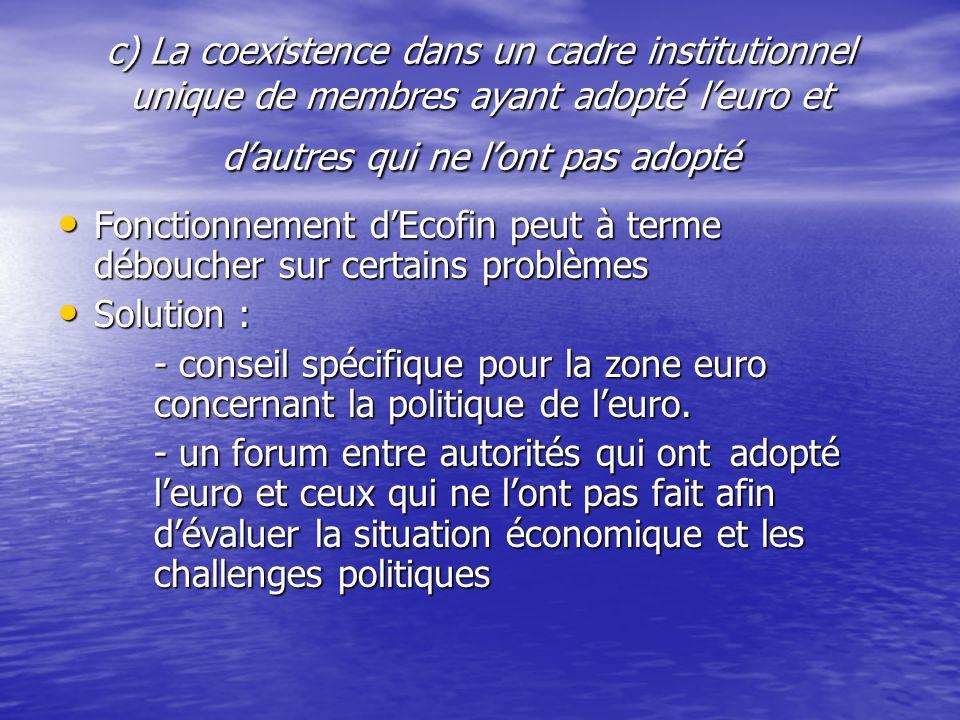 c) La coexistence dans un cadre institutionnel unique de membres ayant adopté l'euro et d'autres qui ne l'ont pas adopté Fonctionnement d'Ecofin peut à terme déboucher sur certains problèmes Fonctionnement d'Ecofin peut à terme déboucher sur certains problèmes Solution : Solution : - conseil spécifique pour la zone euro concernant la politique de l'euro.