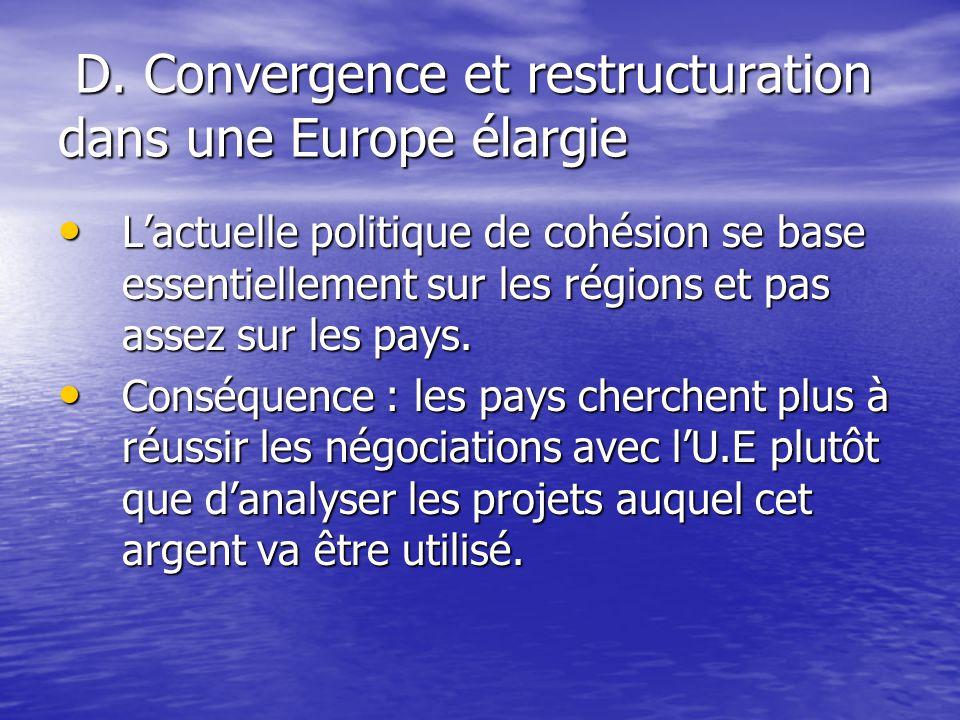 D. Convergence et restructuration dans une Europe élargie D.