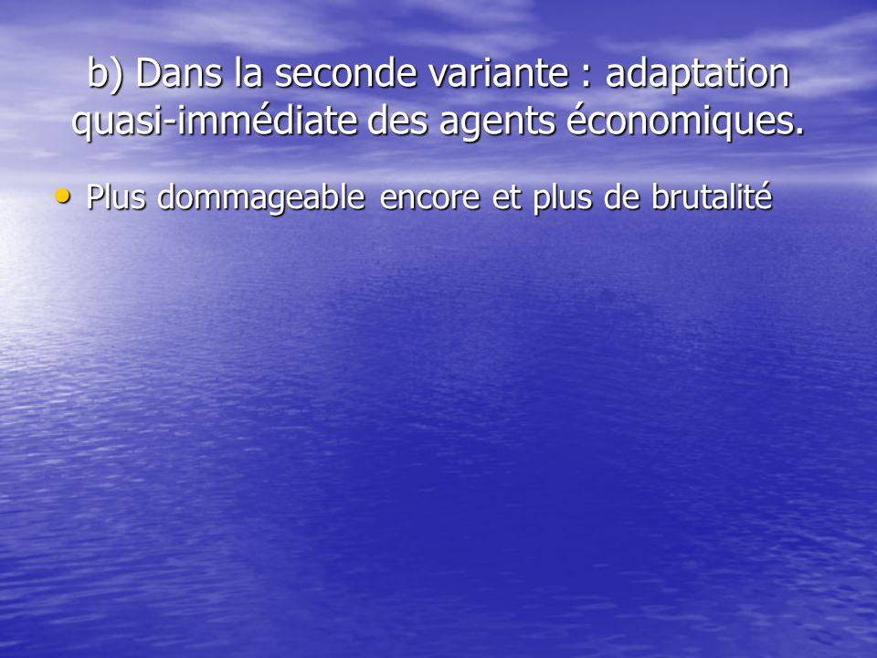 b) Dans la seconde variante : adaptation quasi-immédiate des agents économiques.