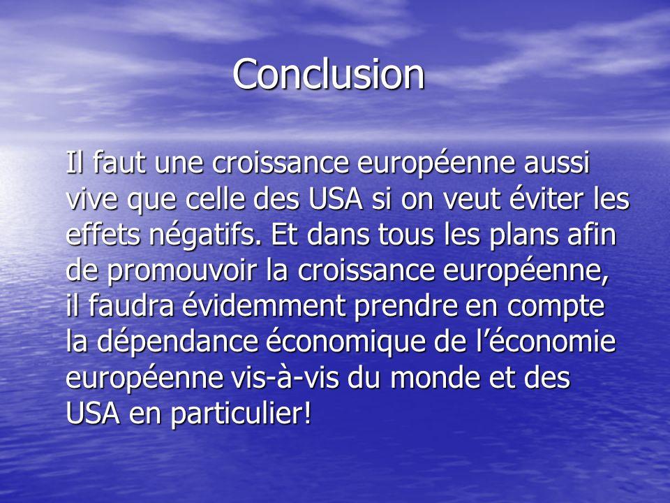 Conclusion Il faut une croissance européenne aussi vive que celle des USA si on veut éviter les effets négatifs.