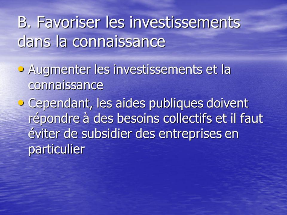 B. Favoriser les investissements dans la connaissance Augmenter les investissements et la connaissance Augmenter les investissements et la connaissanc