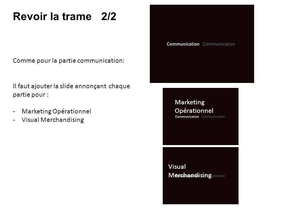 Revoir la trame 2/2 Comme pour la partie communication: Il faut ajouter la slide annonçant chaque partie pour : -Marketing Opérationnel -Visual Mercha