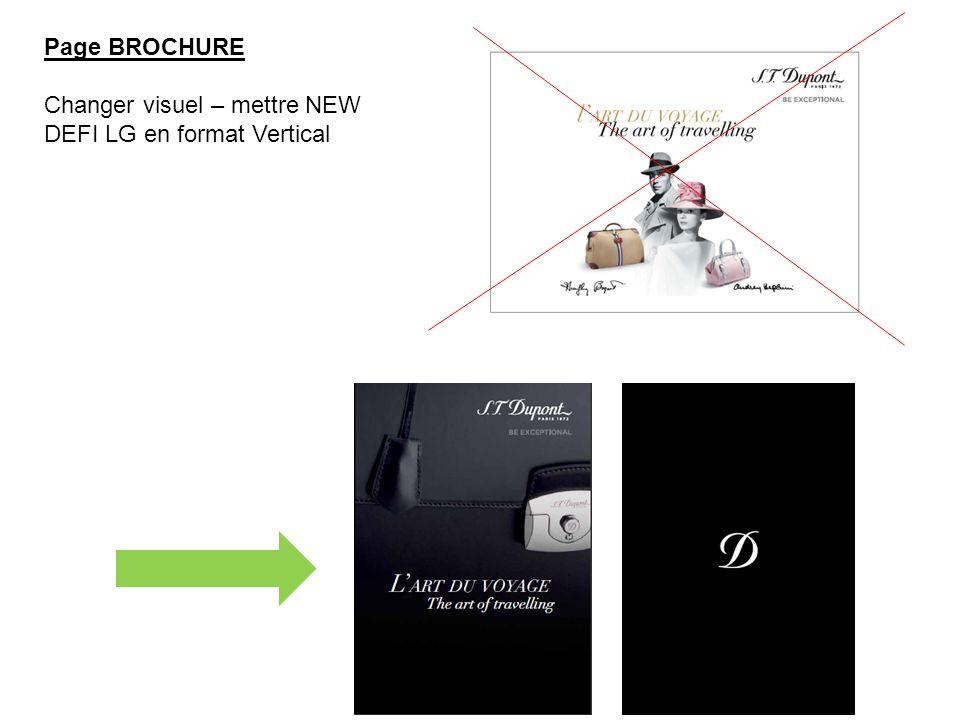 Page BROCHURE Changer visuel – mettre NEW DEFI LG en format Vertical