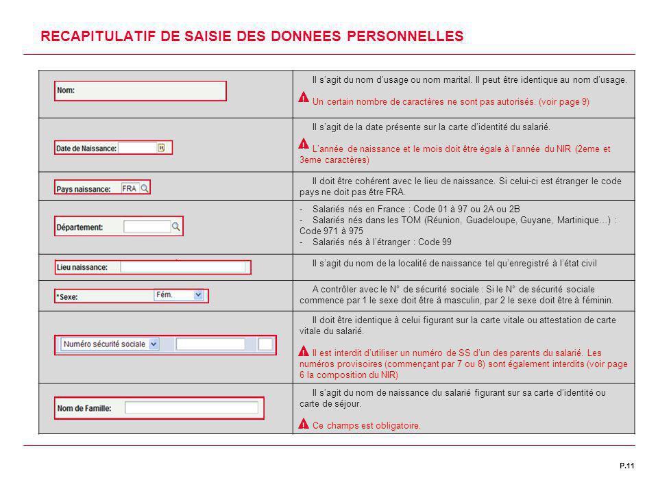 | DATE 00/00/2011P.11C1 | DIRECTION DES RESSOURCES HUMAINES 1 2 3 4 RECAPITULATIF DE SAISIE DES DONNEES PERSONNELLES Il s'agit du nom d'usage ou nom m