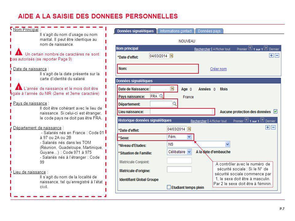 | DATE 00/00/2011P.7C1 | DIRECTION DES RESSOURCES HUMAINES AIDE A LA SAISIE DES DONNEES PERSONNELLES Nom Principal : Il s'agit du nom d'usage ou nom m