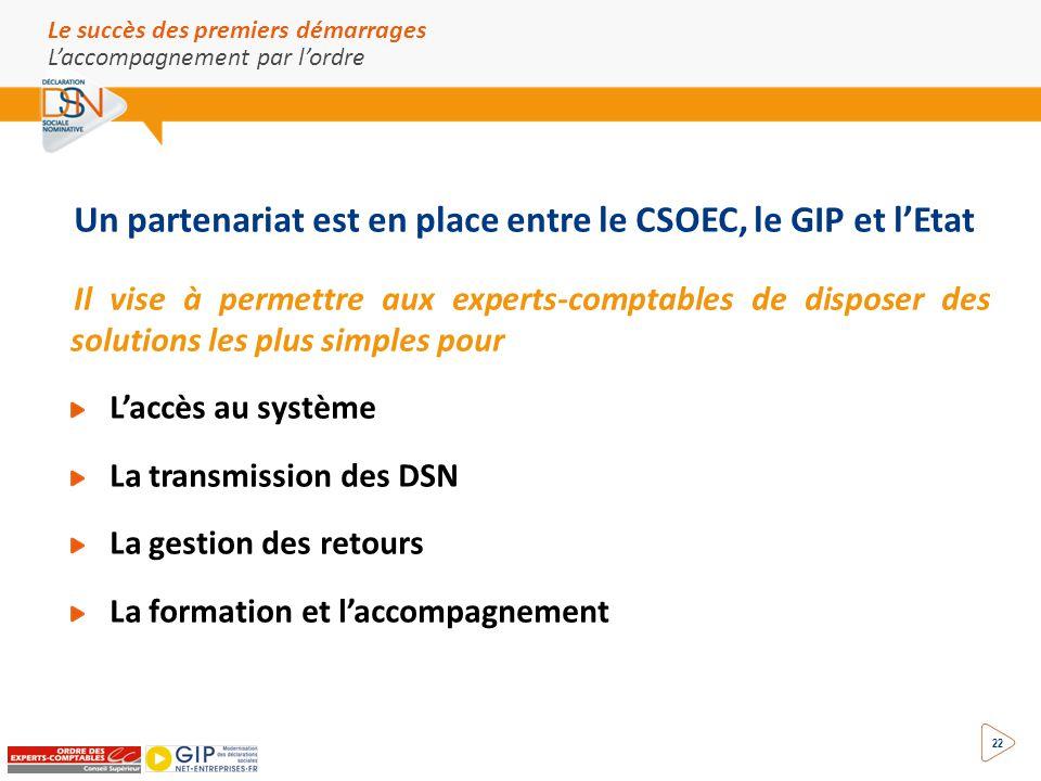 22 Un partenariat est en place entre le CSOEC, le GIP et l'Etat Il vise à permettre aux experts-comptables de disposer des solutions les plus simples