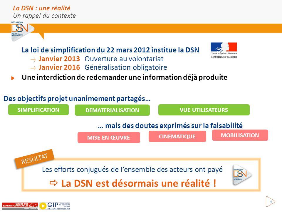 4 La loi de simplification du 22 mars 2012 institue la DSN Janvier 2013 Ouverture au volontariat Janvier 2016 Généralisation obligatoire Une interdict