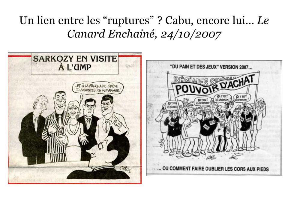 """Un lien entre les """"ruptures"""" ? Cabu, encore lui… Le Canard Enchainé, 24/10/2007"""